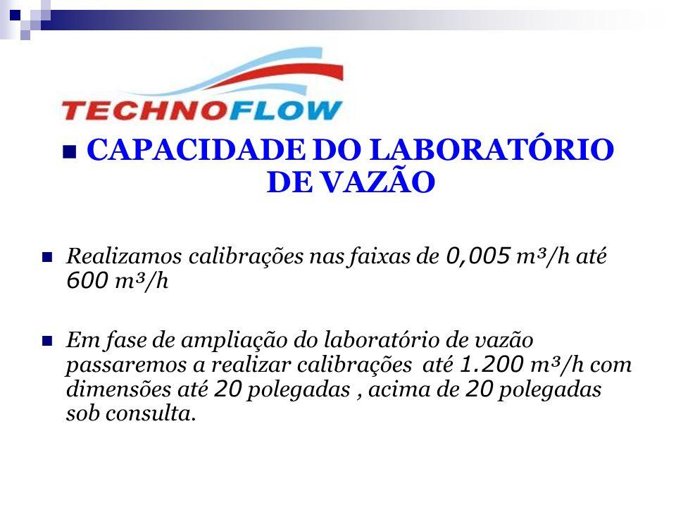  CAPACIDADE DO LABORATÓRIO DE VAZÃO  Realizamos calibrações nas faixas de 0,005 m³/h até 600 m³/h  Em fase de ampliação do laboratório de vazão pas