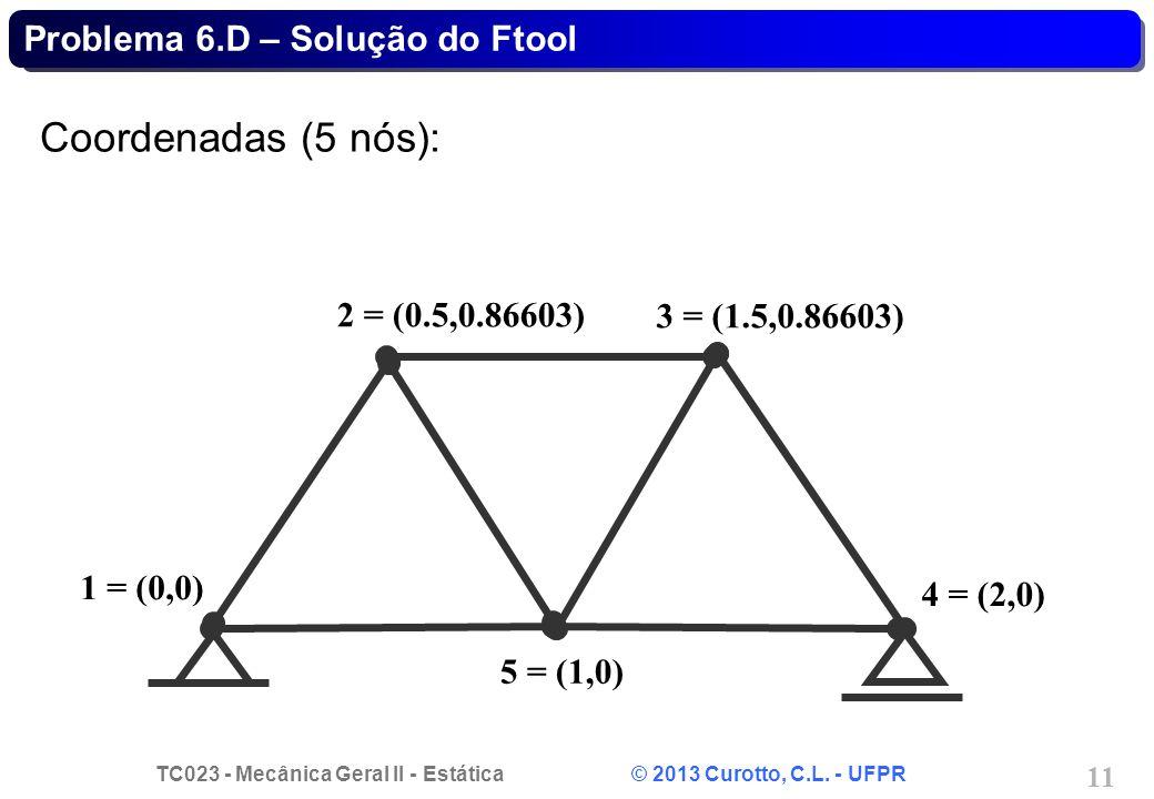 TC023 - Mecânica Geral II - Estática © 2013 Curotto, C.L. - UFPR 11 Problema 6.D – Solução do Ftool Coordenadas (5 nós): 1 = (0,0) 5 = (1,0) 2 = (0.5,