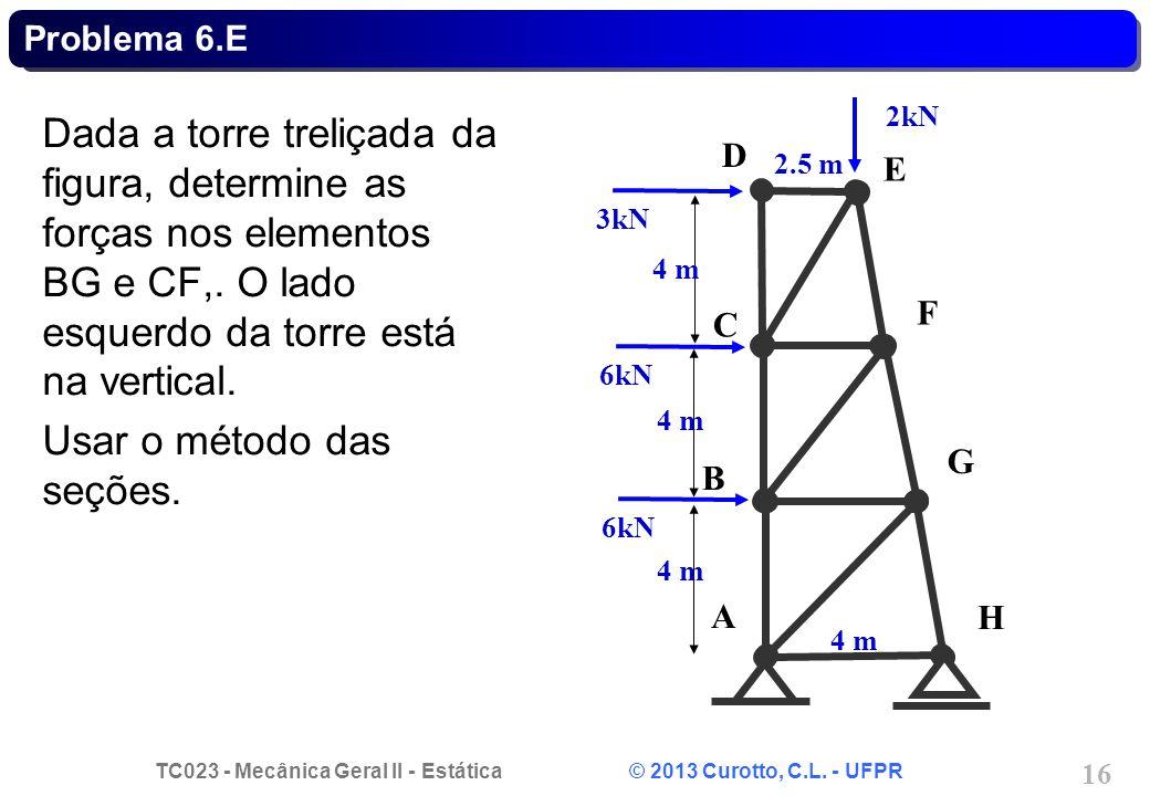 TC023 - Mecânica Geral II - Estática © 2013 Curotto, C.L. - UFPR 16 Problema 6.E Dada a torre treliçada da figura, determine as forças nos elementos B