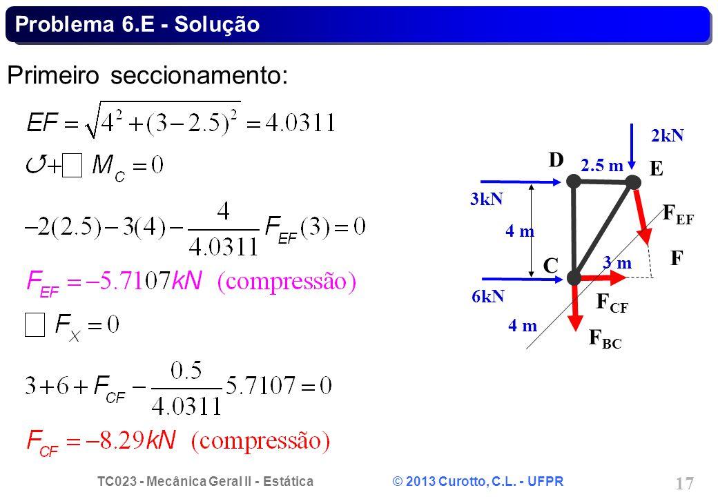 TC023 - Mecânica Geral II - Estática © 2013 Curotto, C.L. - UFPR 17 Problema 6.E - Solução Primeiro seccionamento: C D E F 3kN 6kN 2kN 4 m 2.5 m 3 m F