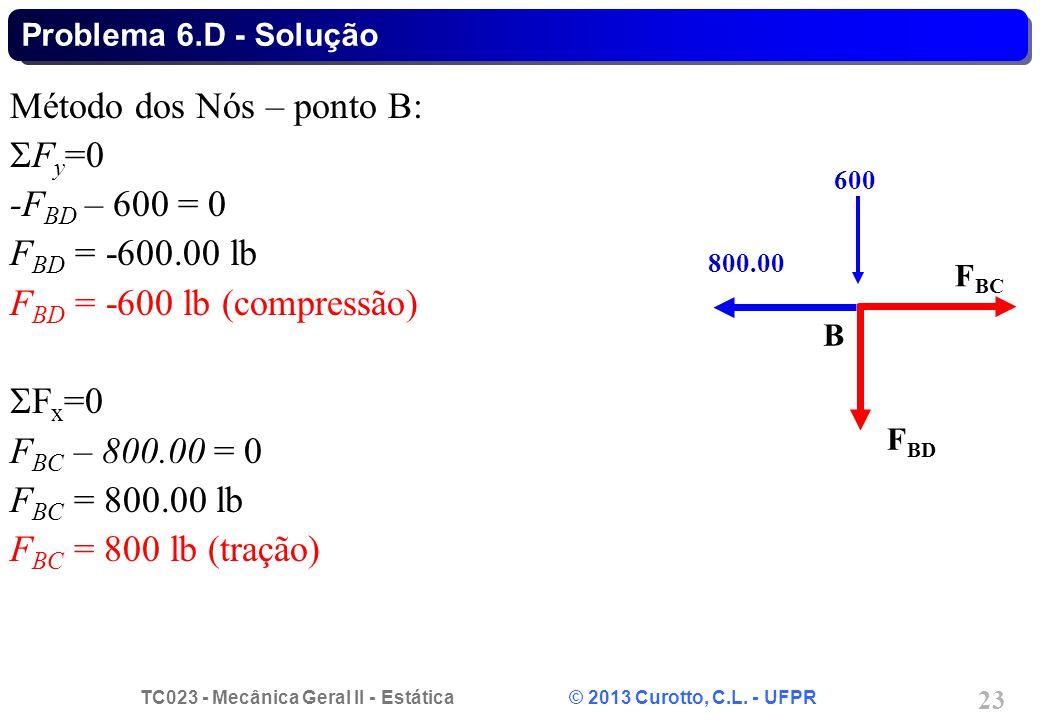 TC023 - Mecânica Geral II - Estática © 2013 Curotto, C.L. - UFPR 23 Método dos Nós – ponto B:  F y =0 -F BD – 600 = 0 F BD = -600.00 lb F BD = -600 l