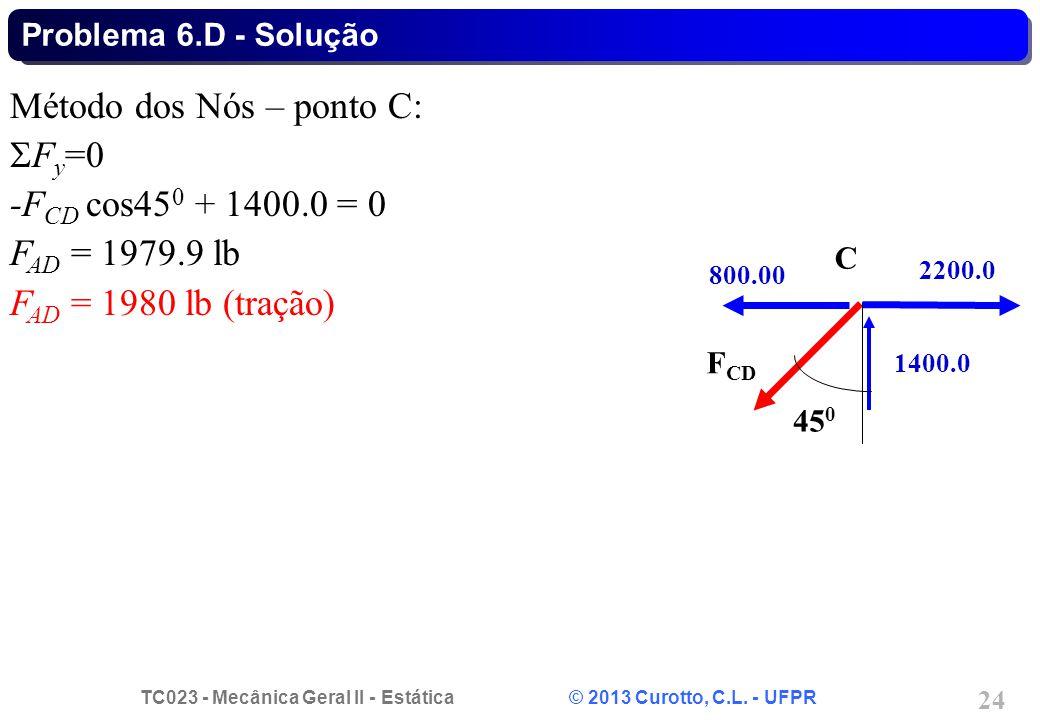 TC023 - Mecânica Geral II - Estática © 2013 Curotto, C.L. - UFPR 24 Método dos Nós – ponto C:  F y =0 -F CD cos45 0 + 1400.0 = 0 F AD = 1979.9 lb F A