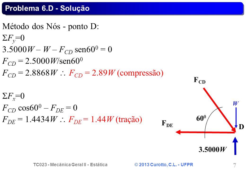 TC023 - Mecânica Geral II - Estática © 2013 Curotto, C.L. - UFPR 7 Método dos Nós - ponto D:  F y =0 3.5000W – W – F CD sen60 0 = 0 F CD = 2.5000W/se