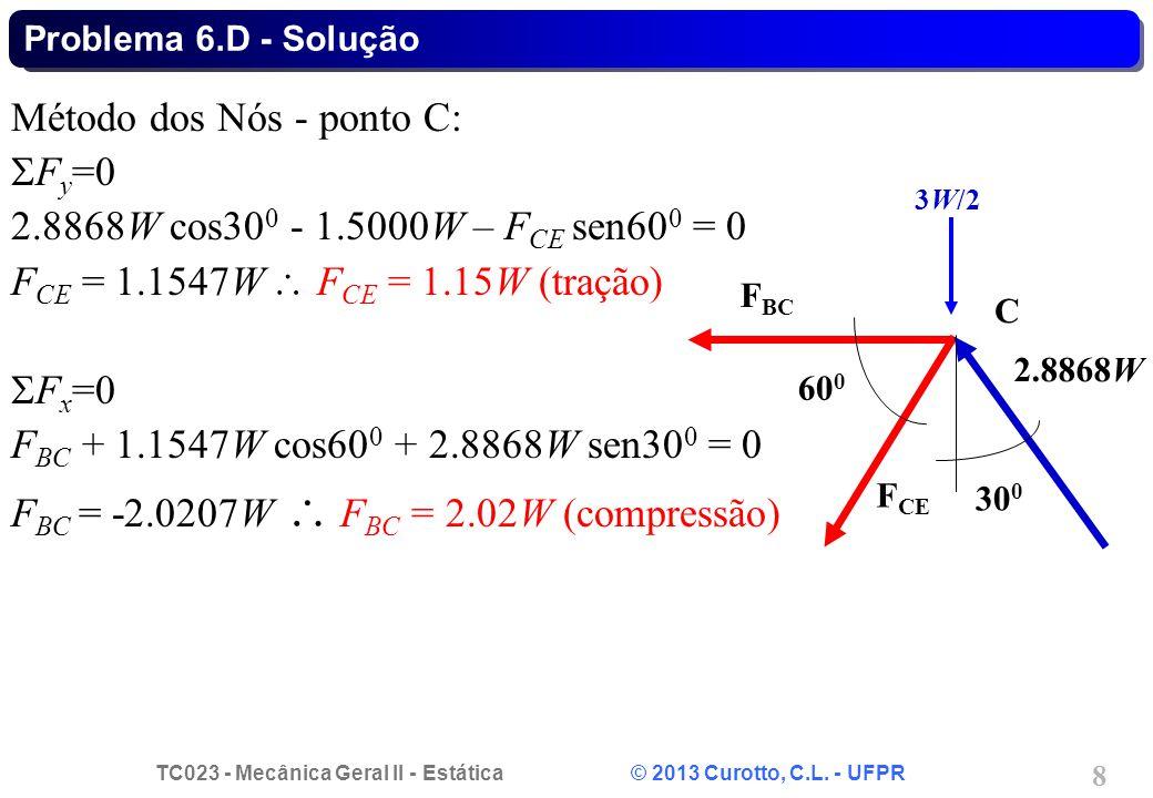 TC023 - Mecânica Geral II - Estática © 2013 Curotto, C.L. - UFPR 8 Método dos Nós - ponto C:  F y =0 2.8868W cos30 0 - 1.5000W – F CE sen60 0 = 0 F C