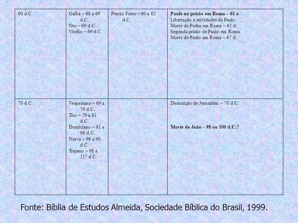 60 d.C.Galba – 68 a 69 d.C. Oto – 69 d.C. Vitélio – 69 d.C. Pórcio Festo – 60 a 62 d.C. Paulo na prisão em Roma – 61 a Libertação e atividades de Paul