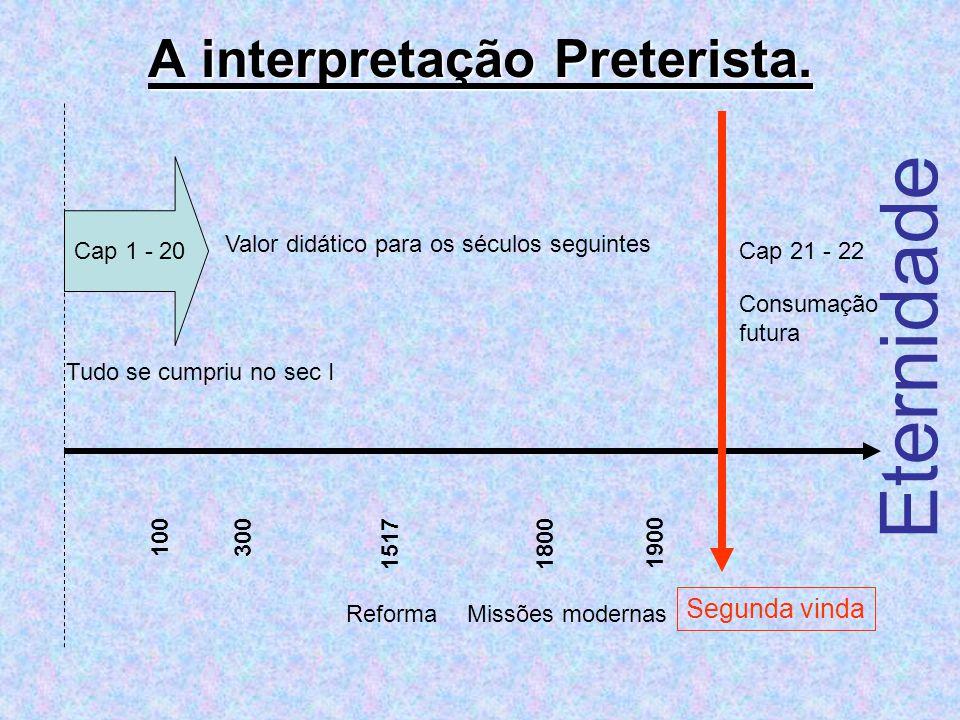 A interpretação Preterista. 100300 15171800 1900 Segunda vinda Eternidade ReformaMissões modernas Tudo se cumpriu no sec I Cap 1 - 20 Valor didático p