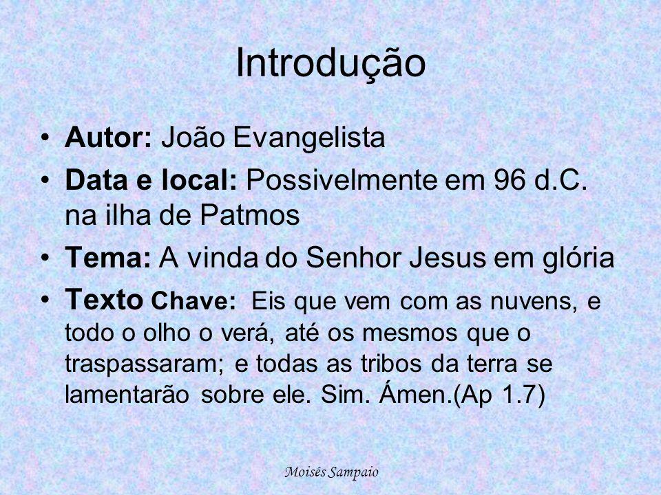 Introdução •Autor: João Evangelista •Data e local: Possivelmente em 96 d.C. na ilha de Patmos •Tema: A vinda do Senhor Jesus em glória •Texto Chave: E