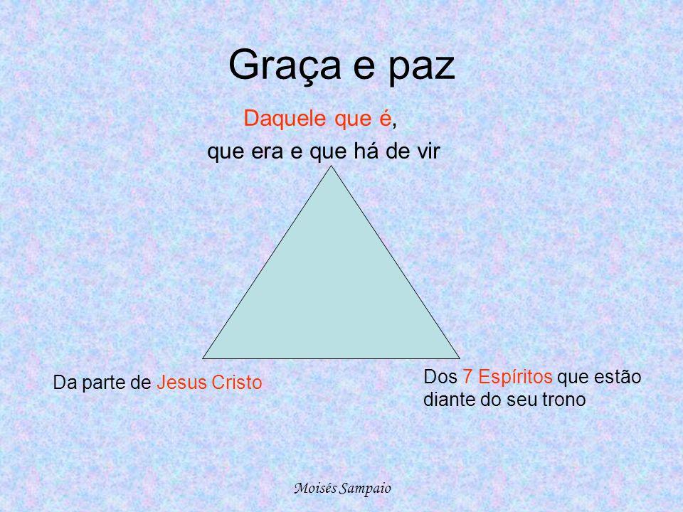 Graça e paz Dos 7 Espíritos que estão diante do seu trono Da parte de Jesus Cristo Daquele que é, que era e que há de vir Moisés Sampaio