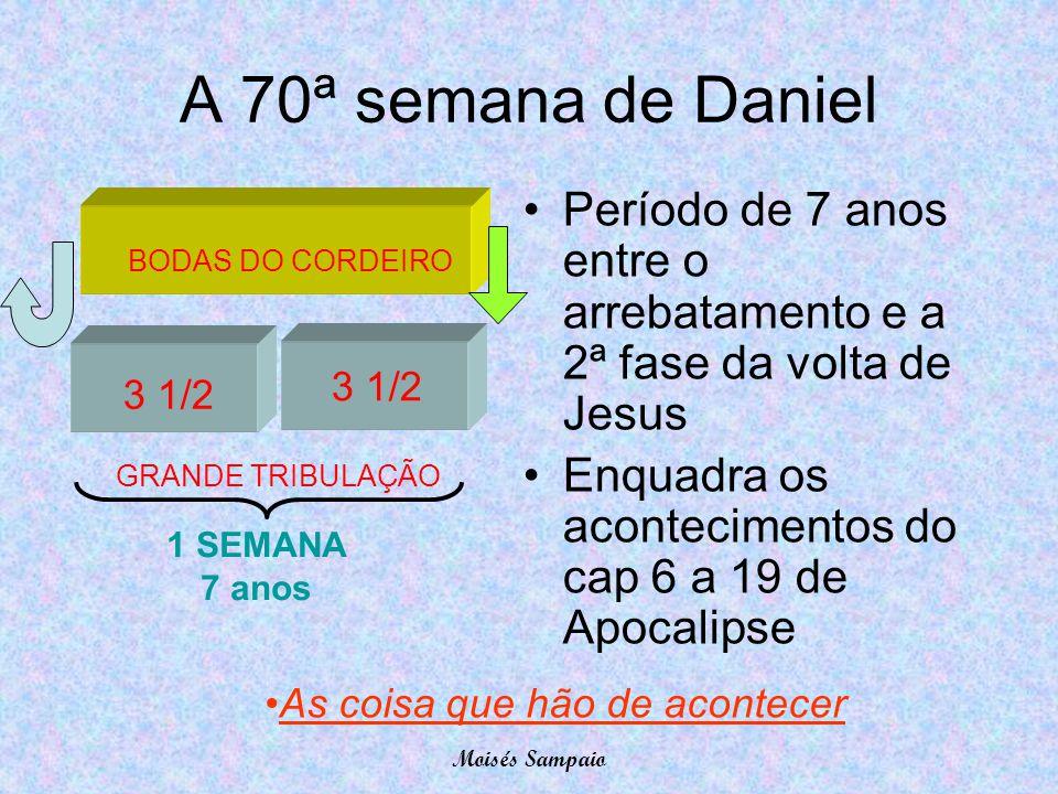 A 70ª semana de Daniel 1 SEMANA 7 anos 3 1/2 BODAS DO CORDEIRO GRANDE TRIBULAÇÃO •Período de 7 anos entre o arrebatamento e a 2ª fase da volta de Jesu