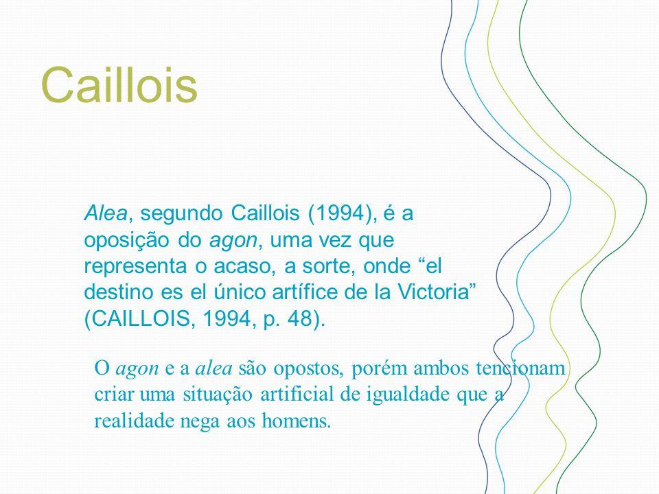 """Caillois Alea, segundo Caillois (1994), é a oposição do agon, uma vez que representa o acaso, a sorte, onde """"el destino es el único artífice de la Vic"""