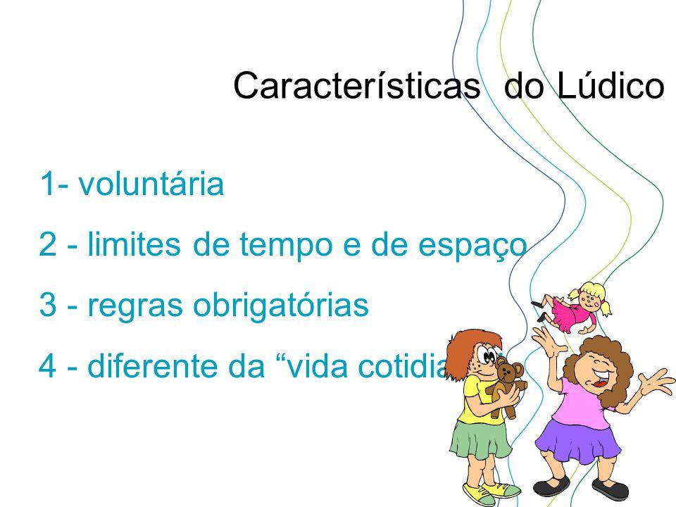"""1- voluntária 2 - limites de tempo e de espaço 3 - regras obrigatórias 4 - diferente da """"vida cotidiana"""" Características do Lúdico"""
