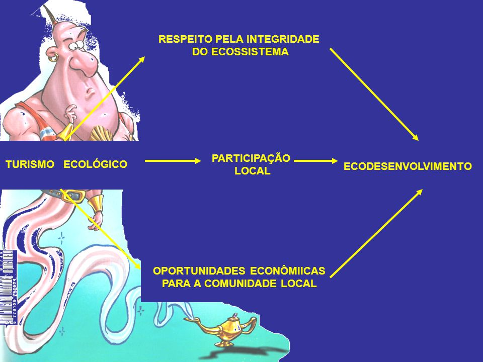 ECODESENVOLVIMENTO TURISMO ECOLÓGICO PARTICIPAÇÃO LOCAL RESPEITO PELA INTEGRIDADE DO ECOSSISTEMA OPORTUNIDADES ECONÔMIICAS PARA A COMUNIDADE LOCAL