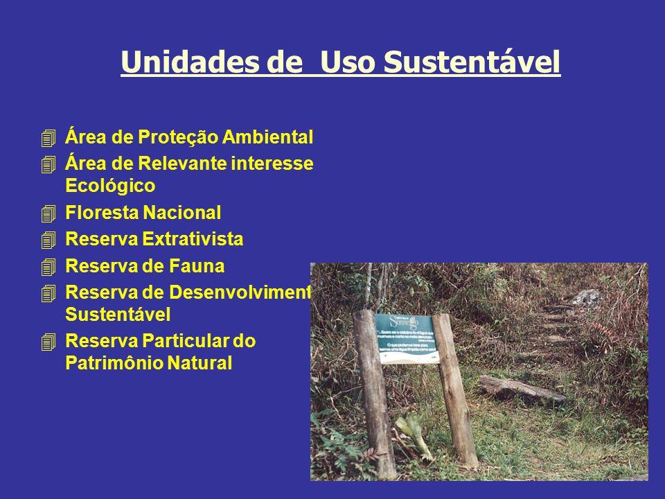 Unidades de Uso Sustentável 4Área de Proteção Ambiental 4Área de Relevante interesse Ecológico 4Floresta Nacional 4Reserva Extrativista 4Reserva de Fauna 4Reserva de Desenvolvimento Sustentável 4Reserva Particular do Patrimônio Natural