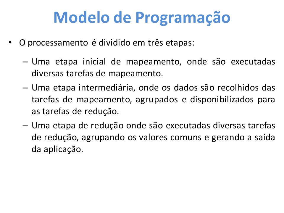 Modelo de Programação • O processamento é dividido em três etapas: – Uma etapa inicial de mapeamento, onde são executadas diversas tarefas de mapeamen