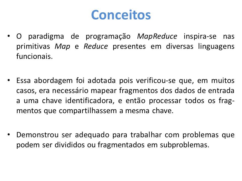 • O paradigma de programação MapReduce inspira-se nas primitivas Map e Reduce presentes em diversas linguagens funcionais. • Essa abordagem foi adotad