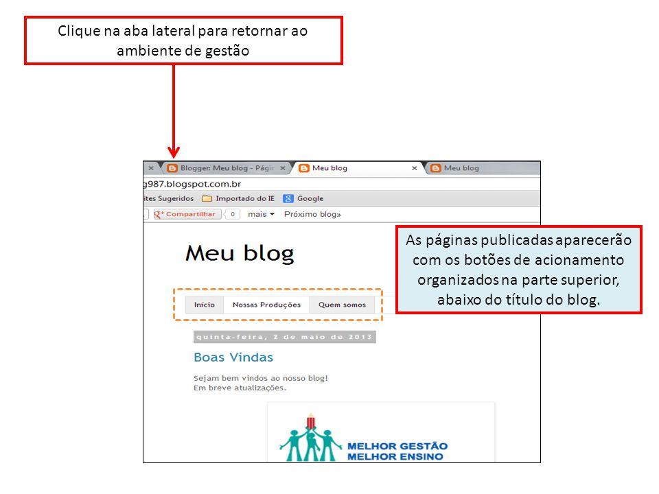 As páginas publicadas aparecerão com os botões de acionamento organizados na parte superior, abaixo do título do blog.