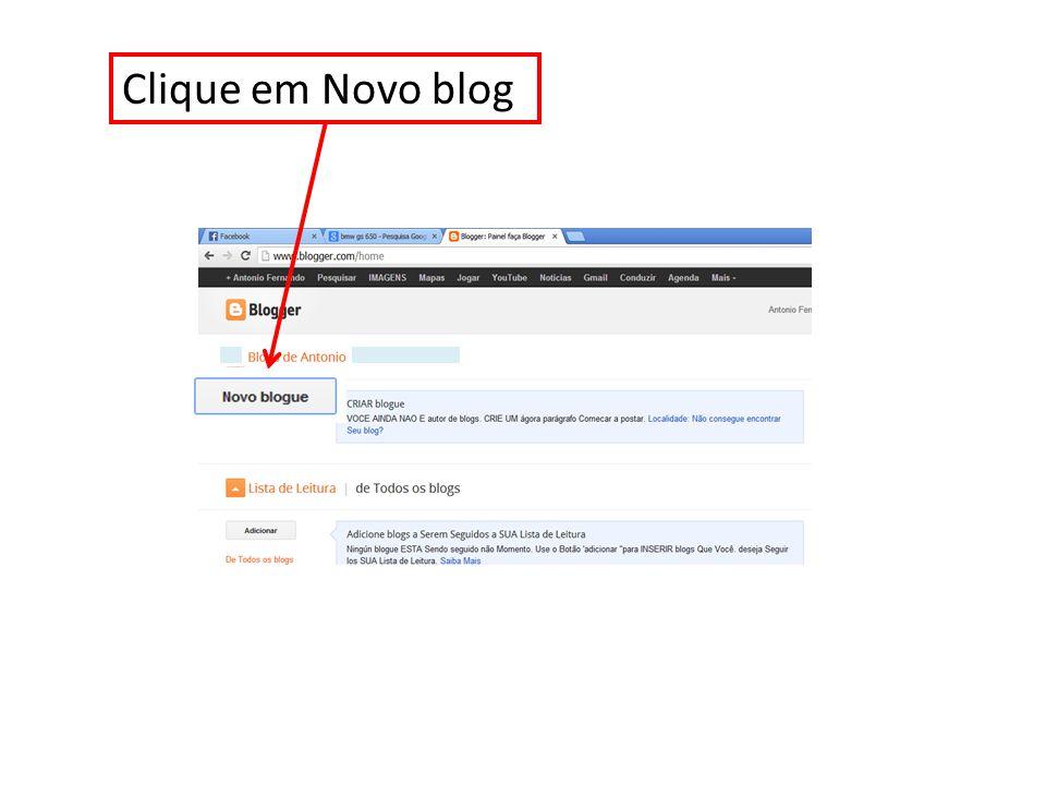Clique em Novo blog