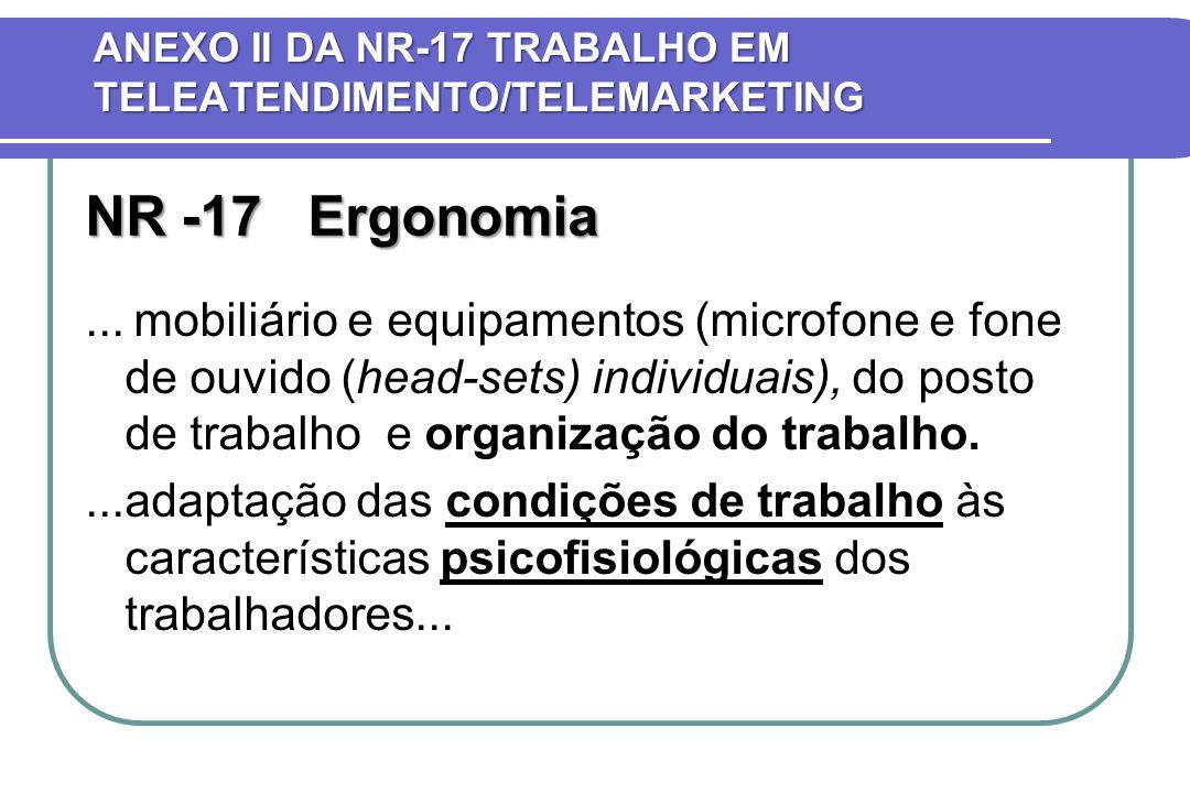 NR -17 Ergonomia... mobiliário e equipamentos (microfone e fone de ouvido (head-sets) individuais), do posto de trabalho e organização do trabalho....