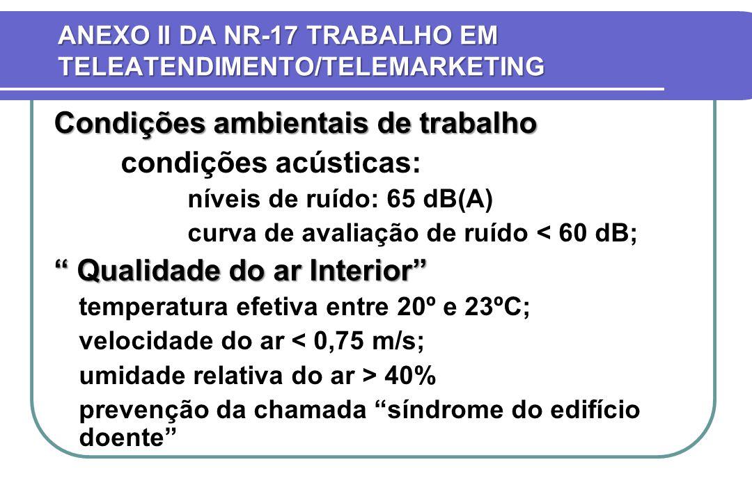 ANEXO II DA NR-17 TRABALHO EM TELEATENDIMENTO/TELEMARKETING Condições ambientais de trabalho condições acústicas: níveis de ruído: 65 dB(A) curva de a