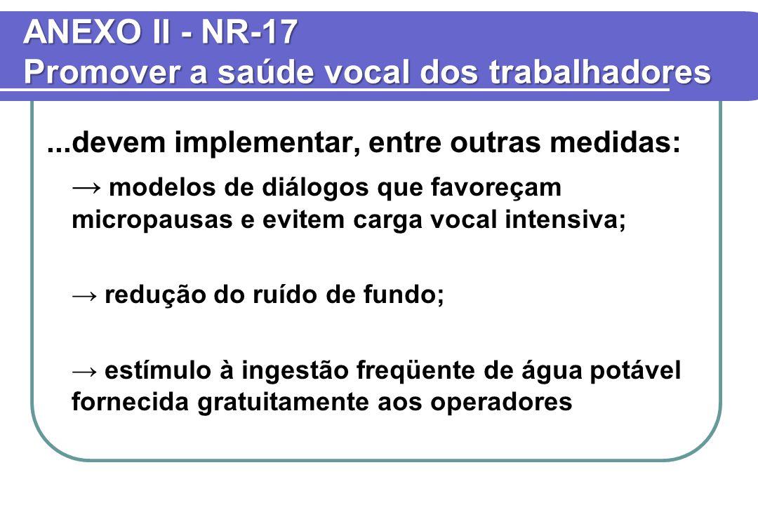 ANEXO II - NR-17 Promover a saúde vocal dos trabalhadores...devem implementar, entre outras medidas: → modelos de diálogos que favoreçam micropausas e