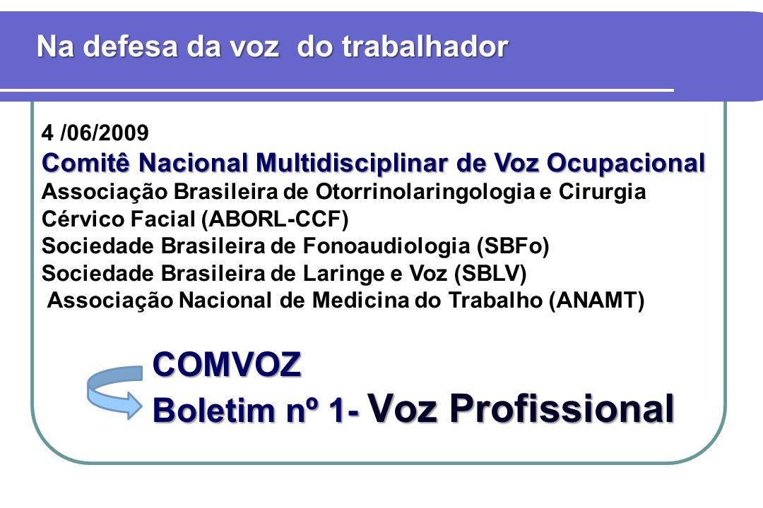 4 /06/2009 Comitê Nacional Multidisciplinar de Voz Ocupacional Associação Brasileira de Otorrinolaringologia e Cirurgia Cérvico Facial (ABORL-CCF) Soc