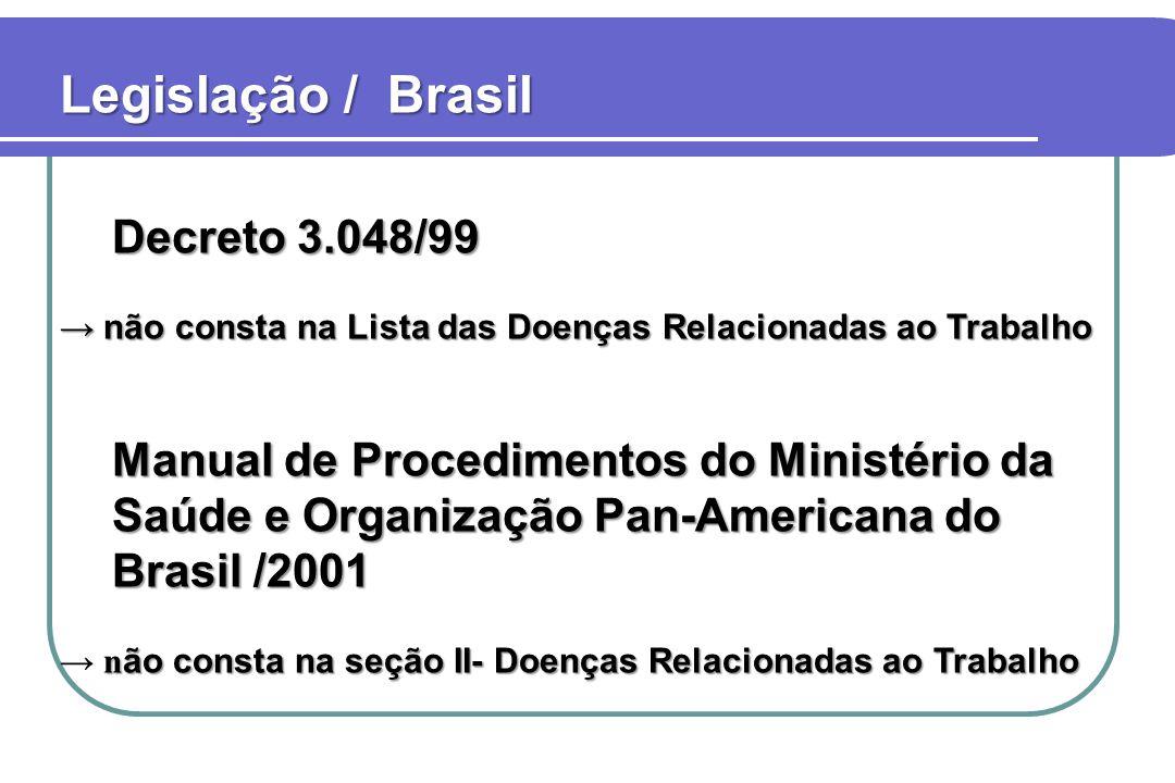 Legislação / Brasil Decreto 3.048/99 → não consta na Lista das Doenças Relacionadas ao Trabalho Manual de Procedimentos do Ministério da Saúde e Organ