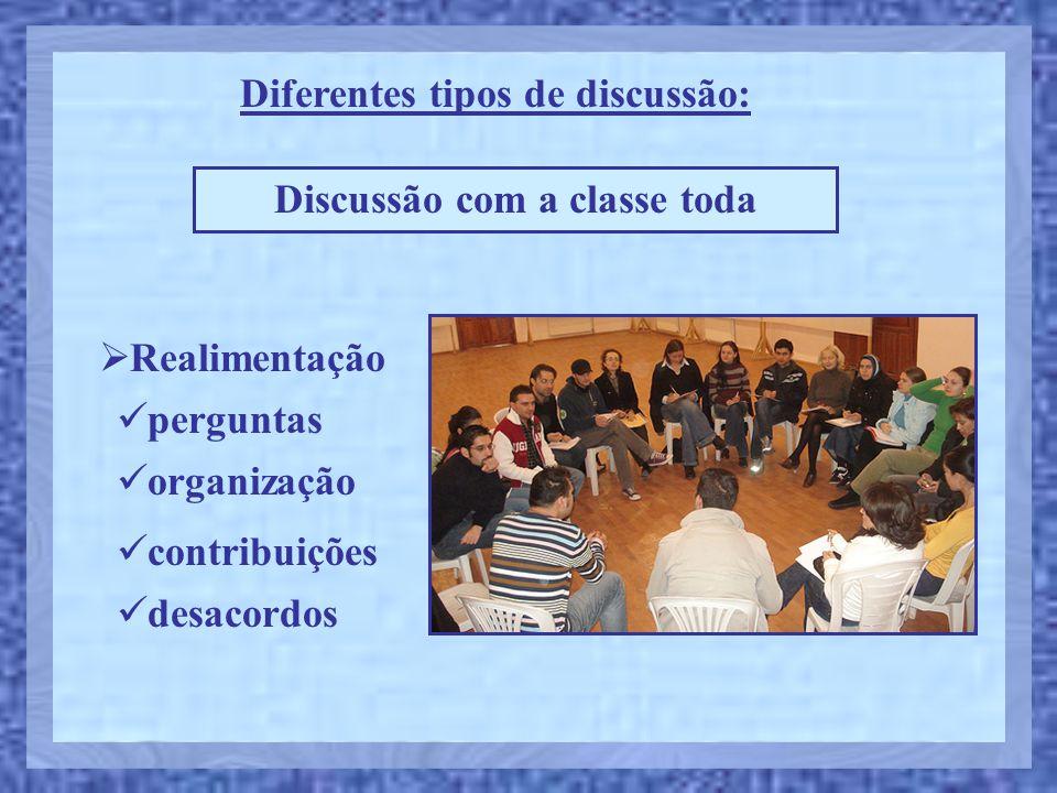 Diferentes tipos de discussão: Discussão com a classe toda  Realimentação  perguntas  desacordos  organização  contribuições