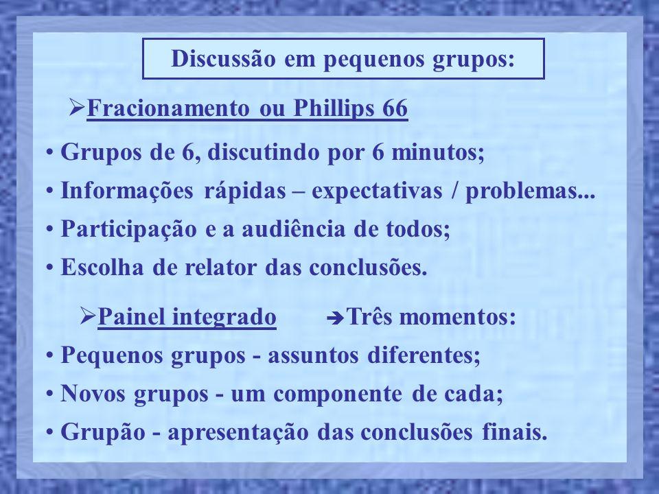 Discussão em pequenos grupos:  Fracionamento ou Phillips 66 • Informações rápidas – expectativas / problemas... • Participação e a audiência de todos
