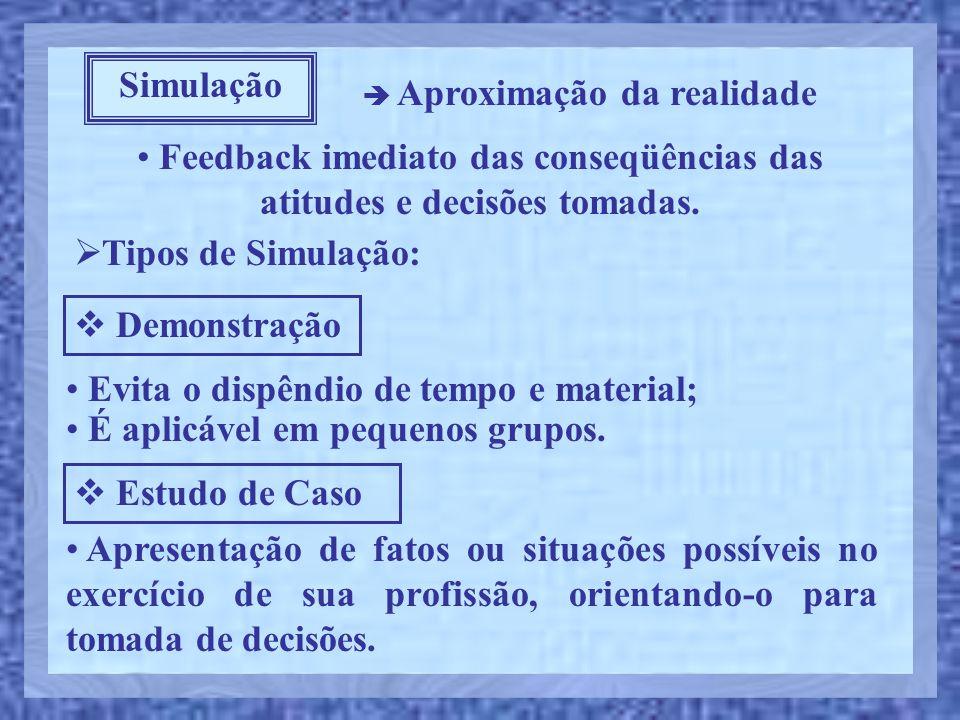 • Feedback imediato das conseqüências das atitudes e decisões tomadas. Simulação  Aproximação da realidade  Tipos de Simulação:  Demonstração • Evi
