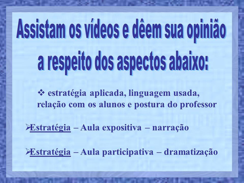  Estratégia – Aula expositiva – narração  Estratégia – Aula participativa – dramatização  estratégia aplicada, linguagem usada, relação com os alun
