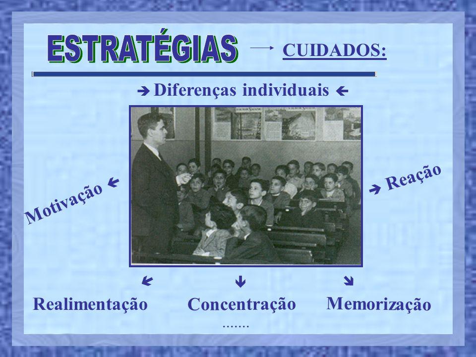 CUIDADOS:  Diferenças individuais  Motivação   Reação Realimentação Concentração.......    Memorização