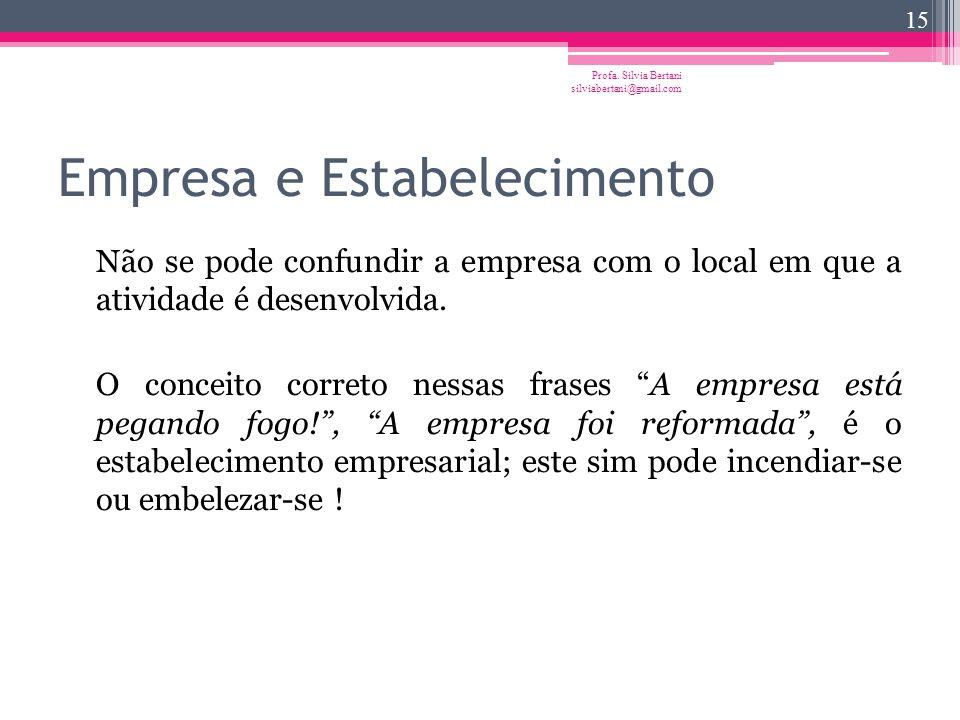 Empresa e Empresário Profa. Silvia Bertani silviabertani@gmail.com 14 A empresa enquanto atividade não se confunde com o sujeito de direito que a expl