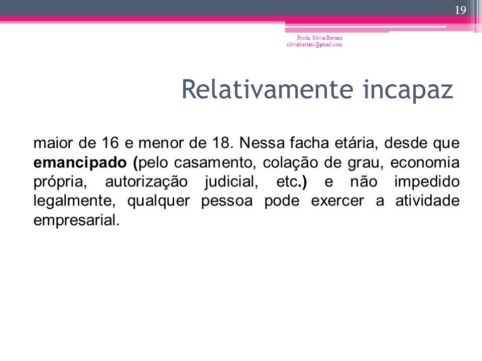 Maioridade civil Profa. Silvia Bertani silviabertani@gmail.com 18 18 anos completos. Qualquer pessoa nesta idade pode exercer a atividade empresarial,