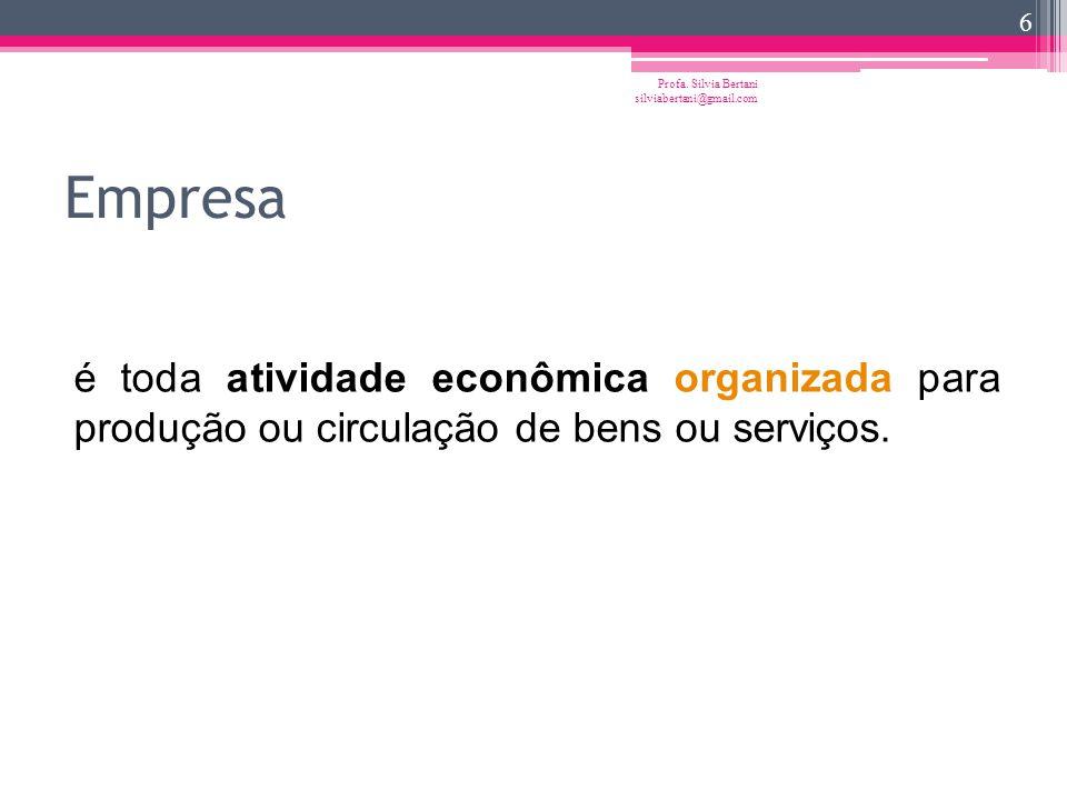 A empresa Advém da economia, ligada à idéia central da organização dos fatores da produção, para a realização de uma atividade econômica. é a unidade