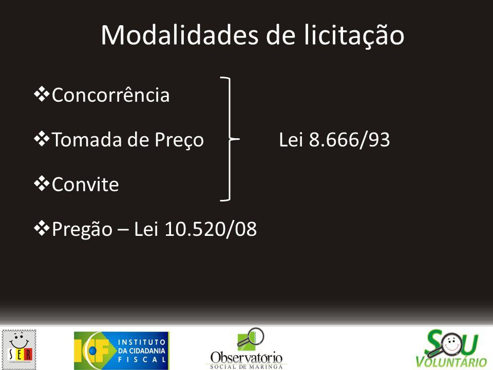 Modalidades de licitação  Concorrência  Tomada de PreçoLei 8.666/93  Convite  Pregão – Lei 10.520/08