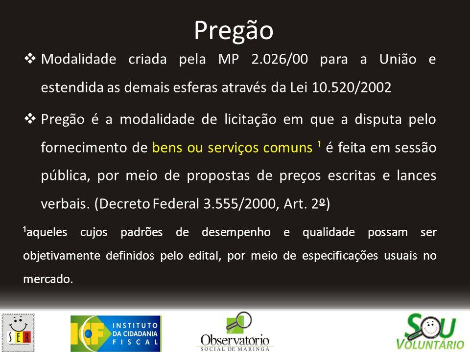 Pregão  Modalidade criada pela MP 2.026/00 para a União e estendida as demais esferas através da Lei 10.520/2002  Pregão é a modalidade de licitação