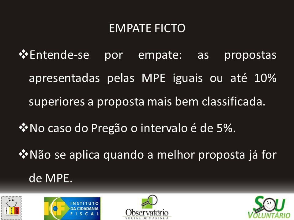 EMPATE FICTO  Entende-se por empate: as propostas apresentadas pelas MPE iguais ou até 10% superiores a proposta mais bem classificada.  No caso do