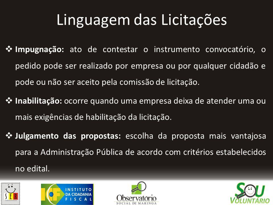 Linguagem das Licitações  Impugnação: ato de contestar o instrumento convocatório, o pedido pode ser realizado por empresa ou por qualquer cidadão e