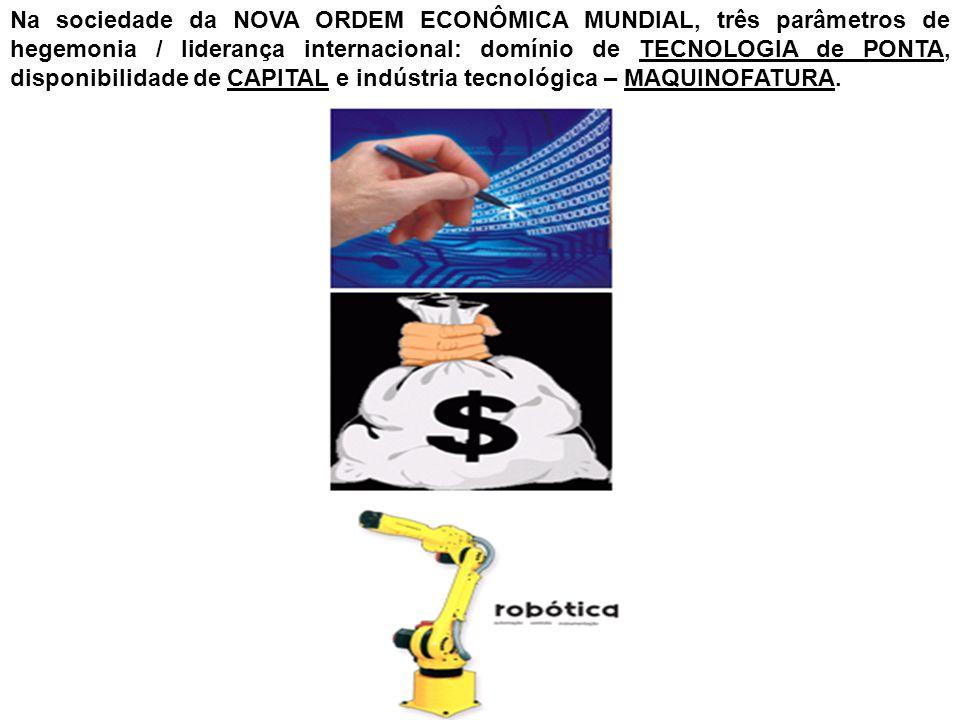 Na sociedade da NOVA ORDEM ECONÔMICA MUNDIAL, três parâmetros de hegemonia / liderança internacional: domínio de TECNOLOGIA de PONTA, disponibilidade