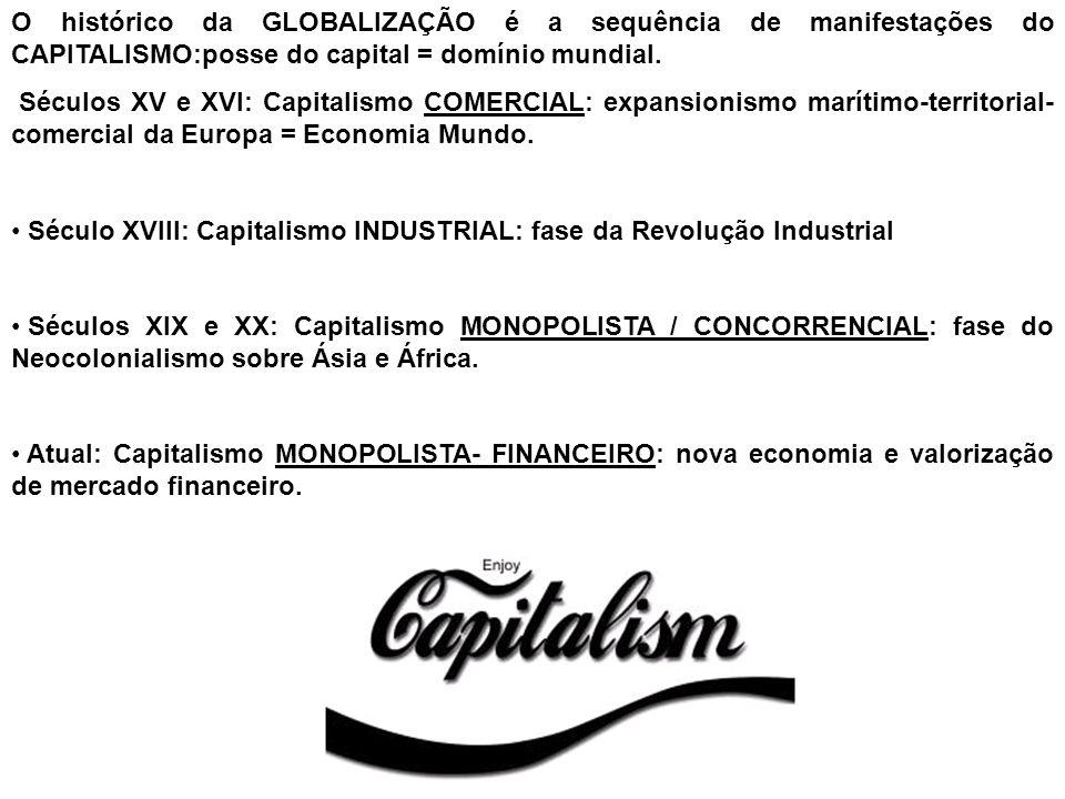 O histórico da GLOBALIZAÇÃO é a sequência de manifestações do CAPITALISMO:posse do capital = domínio mundial. Séculos XV e XVI: Capitalismo COMERCIAL: