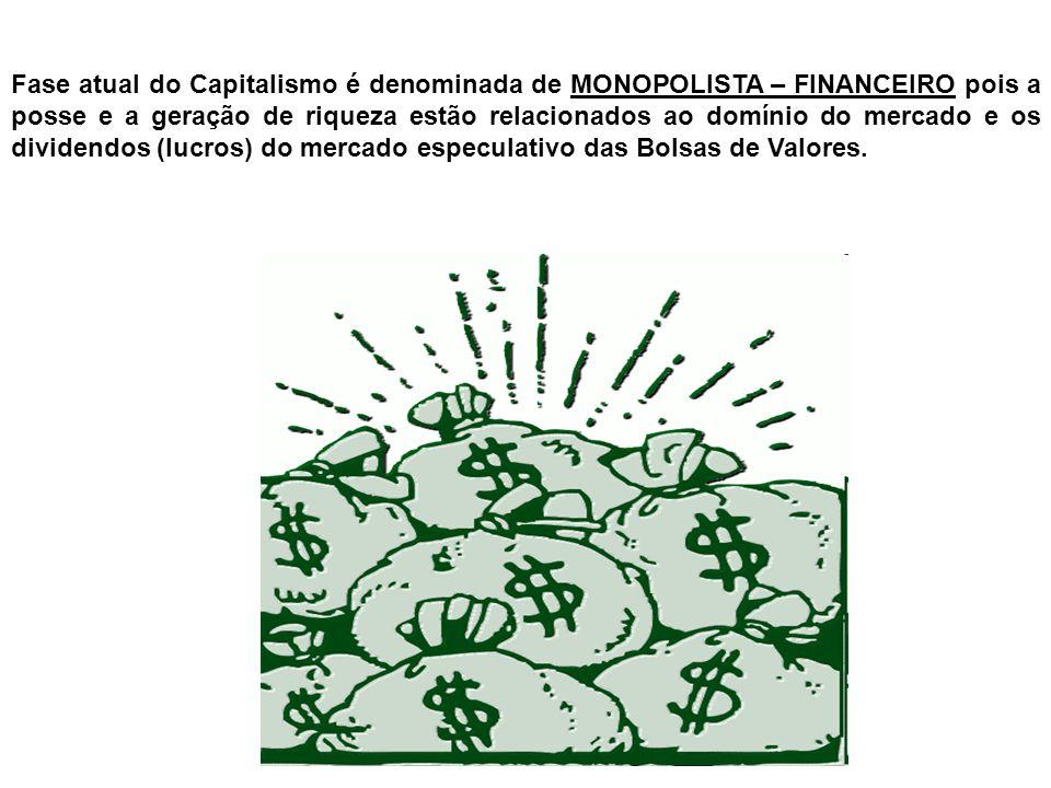 Fase atual do Capitalismo é denominada de MONOPOLISTA – FINANCEIRO pois a posse e a geração de riqueza estão relacionados ao domínio do mercado e os d