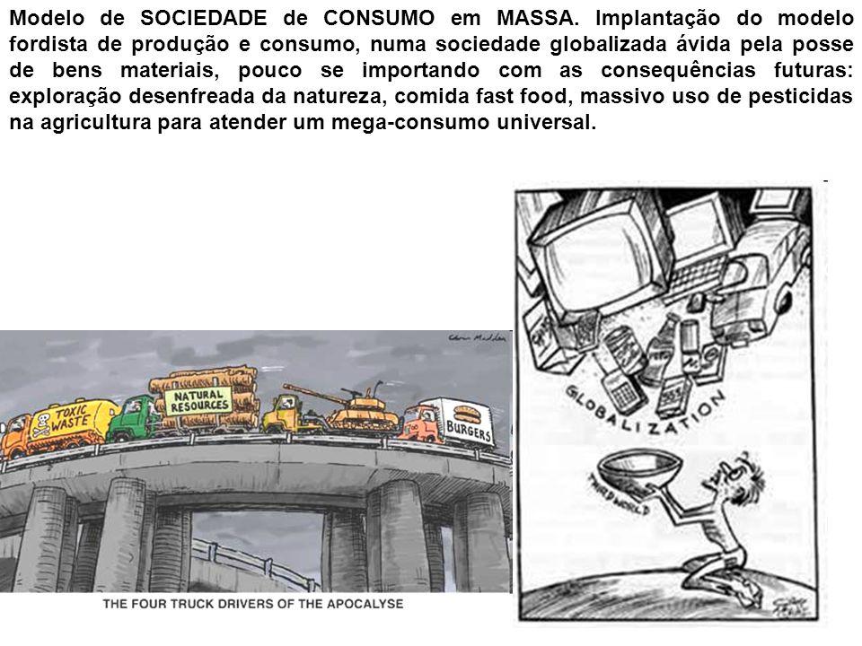 Modelo de SOCIEDADE de CONSUMO em MASSA. Implantação do modelo fordista de produção e consumo, numa sociedade globalizada ávida pela posse de bens mat