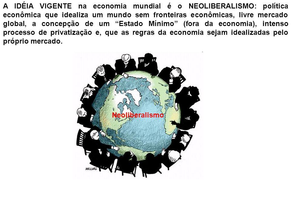 Na fase atual da economia, as idéias NEOLIBERAIS defendem um mundo sem fronteiras econômicas e, que o Estado / Governo não tenha participação direta no mercado: adoção de políticas de privatização / desestatização.