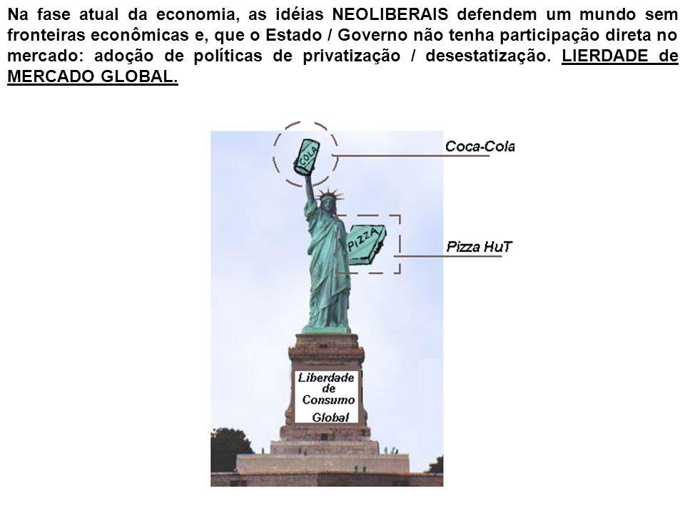Na fase atual da economia, as idéias NEOLIBERAIS defendem um mundo sem fronteiras econômicas e, que o Estado / Governo não tenha participação direta n