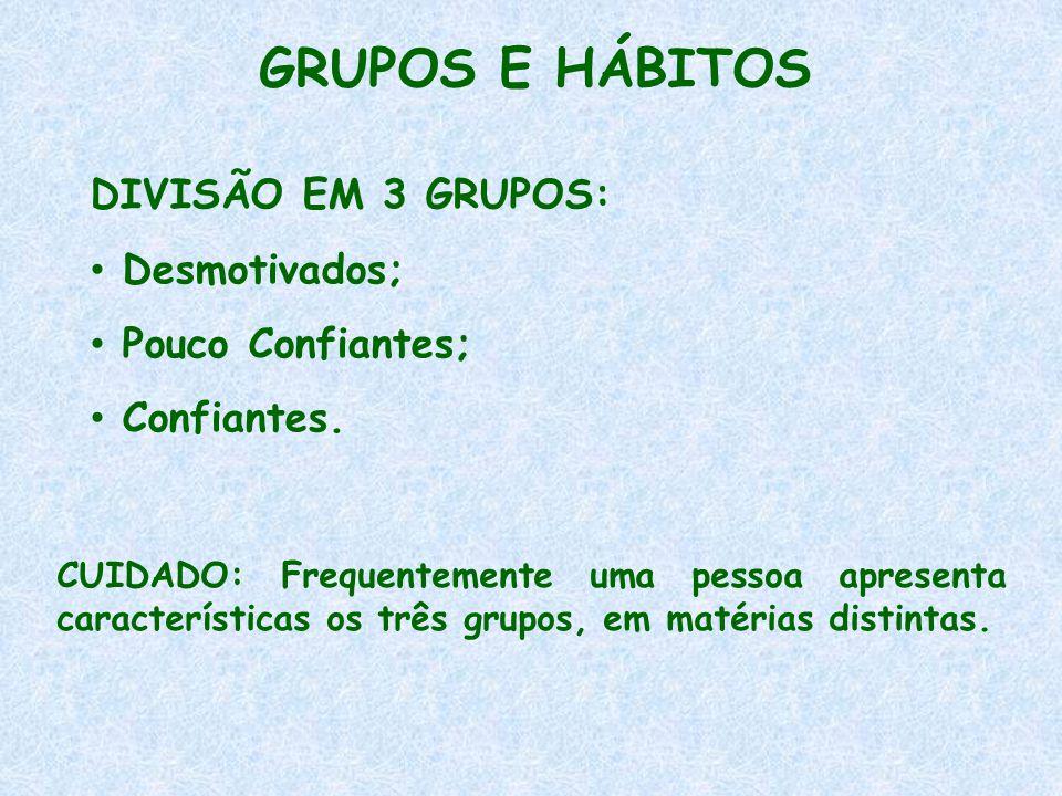 GRUPOS E HÁBITOS DIVISÃO EM 3 GRUPOS: • Desmotivados; • Pouco Confiantes; • Confiantes. CUIDADO: Frequentemente uma pessoa apresenta características o