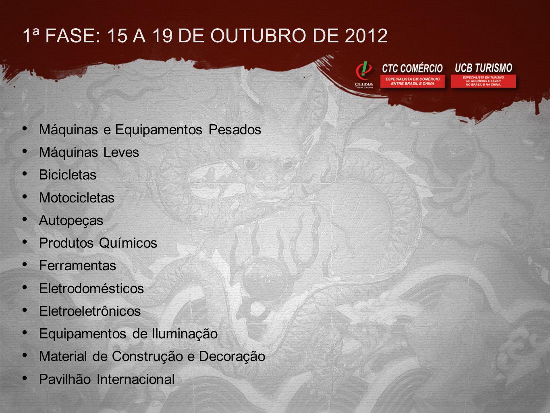 1ª FASE: 15 A 19 DE OUTUBRO DE 2012 • Máquinas e Equipamentos Pesados • Máquinas Leves • Bicicletas • Motocicletas • Autopeças • Produtos Químicos • F