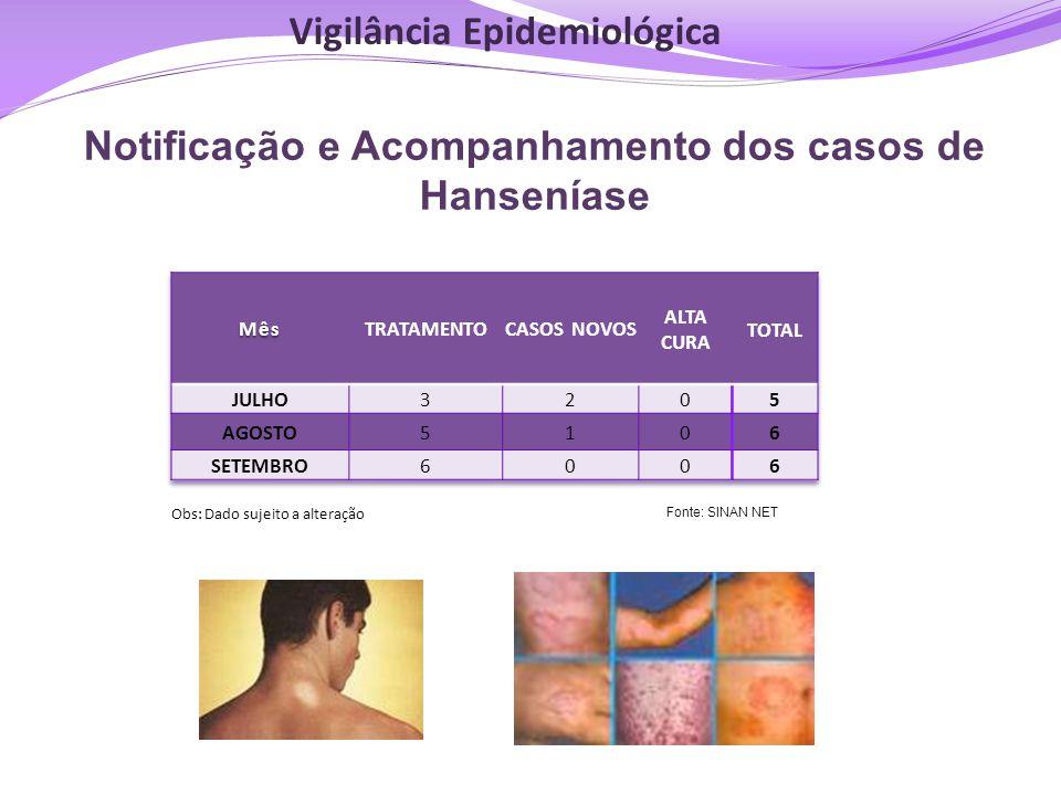 Notificação e Acompanhamento dos casos de Hanseníase Obs: Dado sujeito a alteração Fonte: SINAN NET Vigilância Epidemiológica