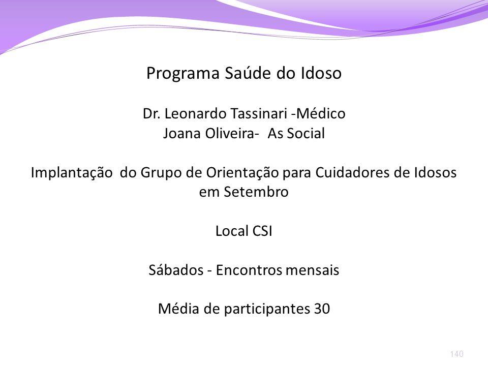 140 Programa Saúde do Idoso Dr. Leonardo Tassinari -Médico Joana Oliveira- As Social Implantação do Grupo de Orientação para Cuidadores de Idosos em S