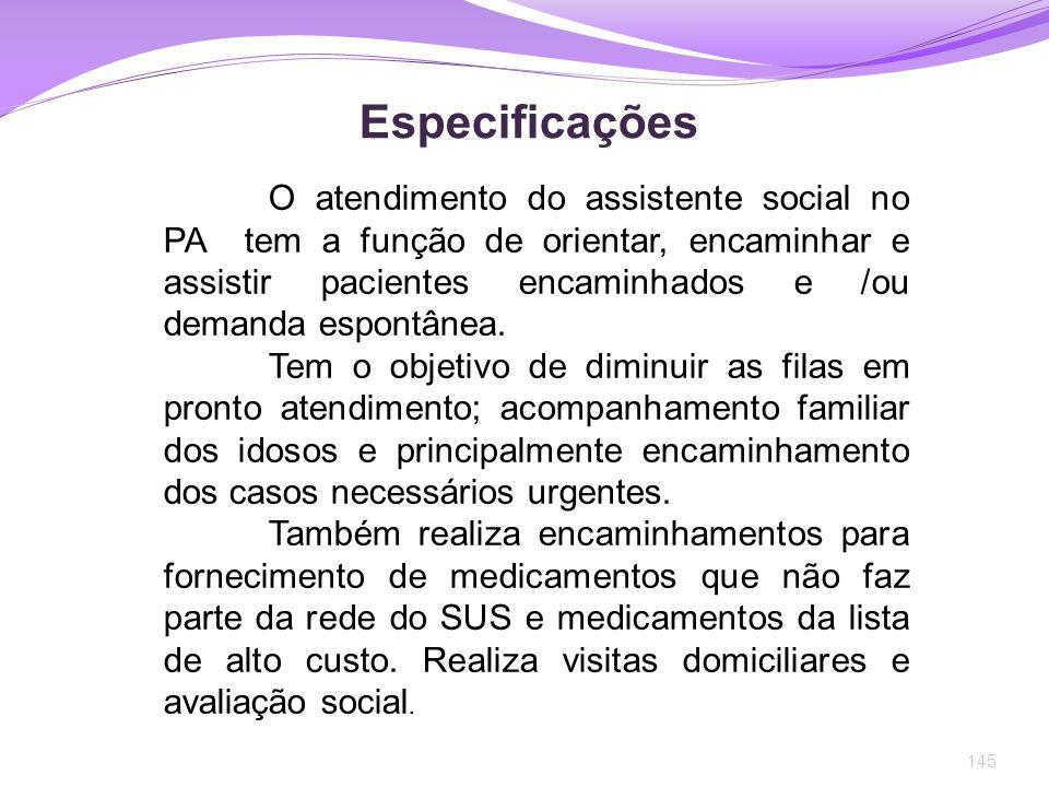 145 Especificações O atendimento do assistente social no PA tem a função de orientar, encaminhar e assistir pacientes encaminhados e /ou demanda espon