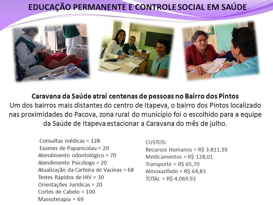 EDUCAÇÃO PERMANENTE E CONTROLE SOCIAL EM SAÚDE Caravana da Saúde atrai centenas de pessoas no Bairro dos Pintos Um dos bairros mais distantes do centr